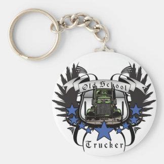 Old School Trucker Basic Round Button Key Ring