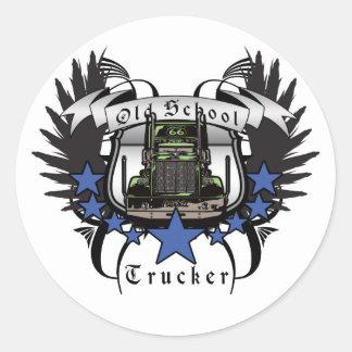 Old School Trucker Classic Round Sticker