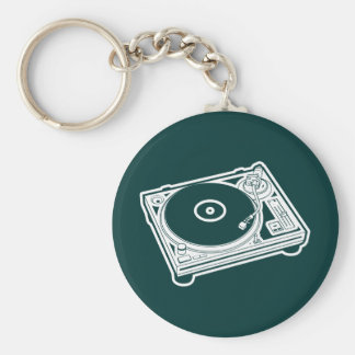 Old School Turntable Basic Round Button Key Ring