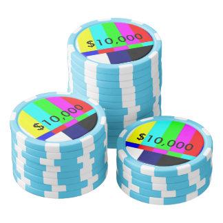 Old School TV Poker Playing chips $10,000 Poker Chip Set