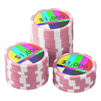 Old School TV Poker Playing chips $1,000 Set Of Poker Chips