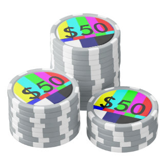Old School TV Poker Playing chips $50 Poker Chips