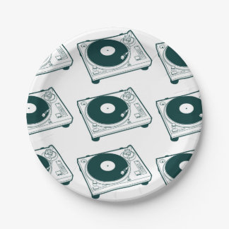 Old School Wax (Vinyl) Turntable 7 Inch Paper Plate