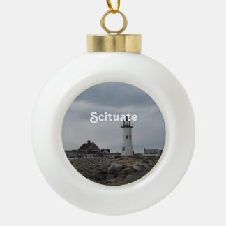 Old Scituate Lighthouse Ceramic Ball Decoration