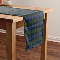 Old Scottish Clan Baird Tartan Plaid Short Table Runner