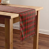 Old Scottish Clan Bruce Tartan Plaid Short Table Runner