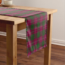 Old Scottish Clan Crawford Tartan Plaid Short Table Runner