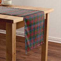 Old Scottish Clan Kidd Red Green Blue Tartan Short Table Runner
