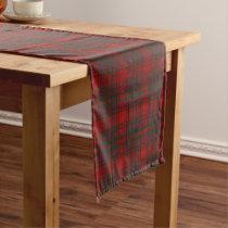 Old Scottish Clan MacDougall Tartan Plaid Short Table Runner