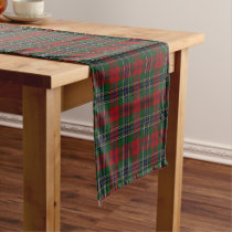 Old Scottish Clan MacLean Tartan Plaid Short Table Runner