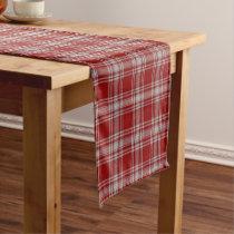 Old Scottish Clan Menzies Red White Tartan Plaid Short Table Runner