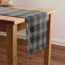 Old Scottish Clan Moffat Grey Black Red Tartan Short Table Runner