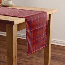 Old Scottish Clan Rose Modern Red Tartan Plaid Short Table Runner