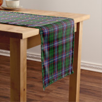Old Scottish Clan Russell Tartan Plaid Short Table Runner