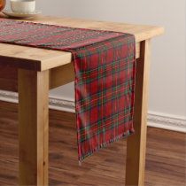 Old Scottish Clan Stewart Royal Red Tartan Plaid Short Table Runner