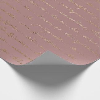 Old Script Gold Mauve Lilac Blush Pink Royal Paris Wrapping Paper