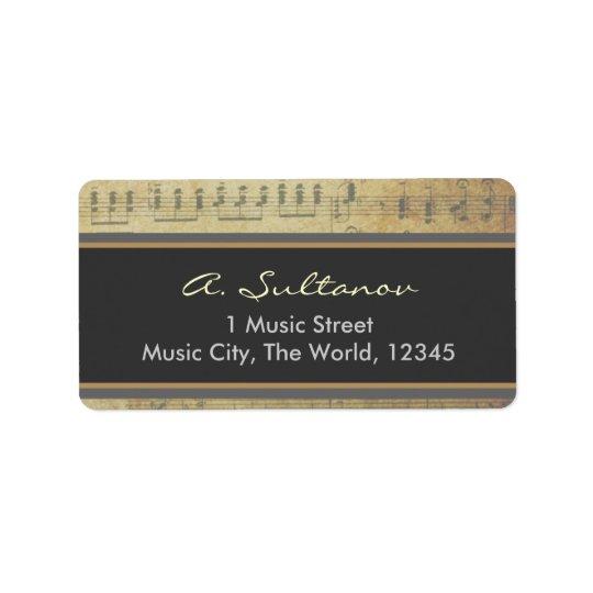 Old Sheet Music Address Label