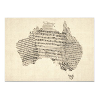 Old Sheet Music Map of Australia Map 13 Cm X 18 Cm Invitation Card