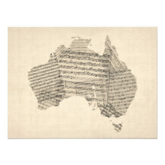 Old Sheet Music Map of Australia Map Photo Print