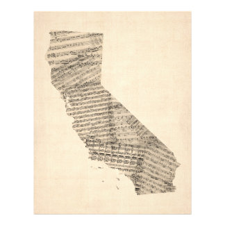 Old Sheet Music Map of California Full Color Flyer