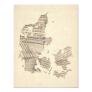 Old Sheet Music Map of Denmark 11 Cm X 14 Cm Invitation Card