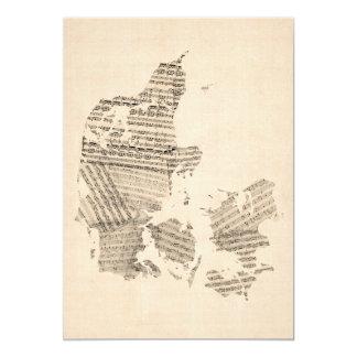 Old Sheet Music Map of Denmark 13 Cm X 18 Cm Invitation Card