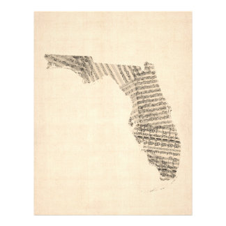 Old Sheet Music Map of Florida Personalised Flyer