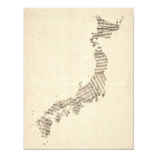 Old Sheet Music Map of Japan 11 Cm X 14 Cm Invitation Card