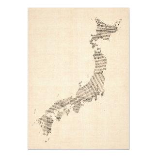 Old Sheet Music Map of Japan 13 Cm X 18 Cm Invitation Card