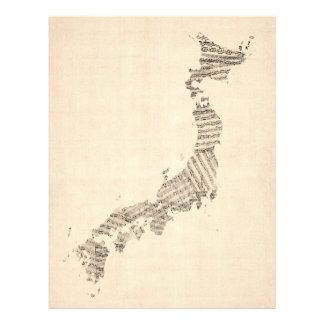 Old Sheet Music Map of Japan 21.5 Cm X 28 Cm Flyer