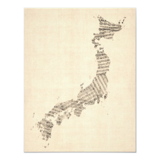 Old Sheet Music Map of Japan Card