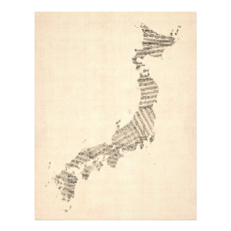 Old Sheet Music Map of Japan Flyer Design