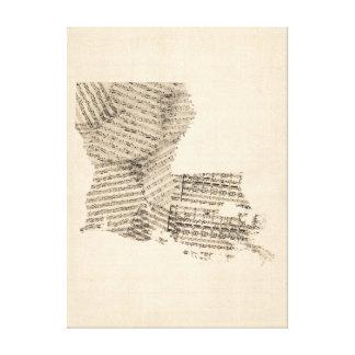 Old Sheet Music Map of Louisiana Canvas Print