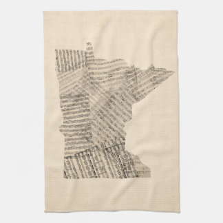 Old Sheet Music Map of Minnesota Tea Towel
