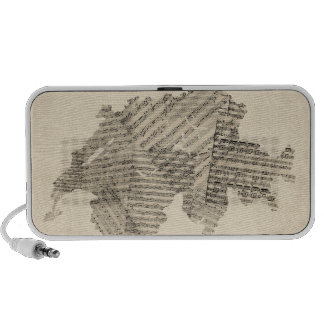 Old Sheet Music Map of Switzerland Map Portable Speaker
