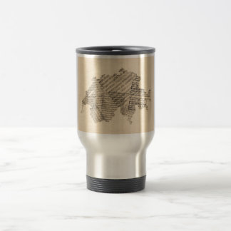 Old Sheet Music Map of Switzerland Map Travel Mug