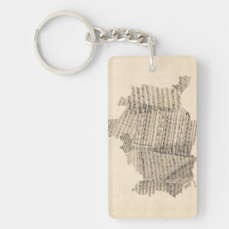 Old Sheet Music Map of Vienna Austria Map Key Ring