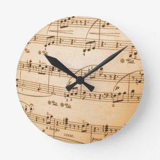 Old Sheet Music Round Clock