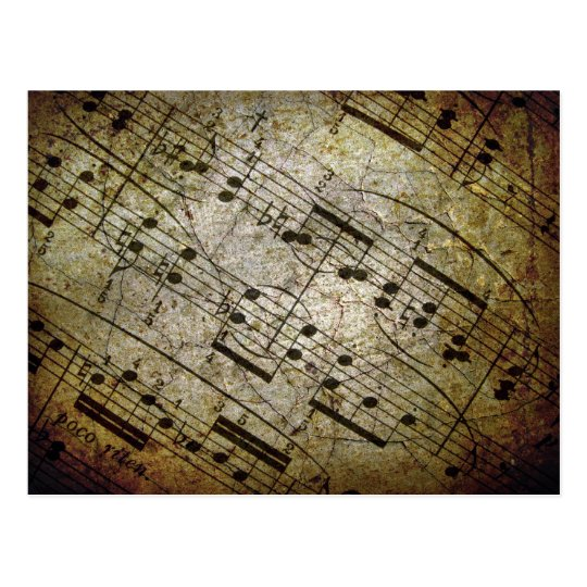Old sheet musical score, grunge music notes postcard