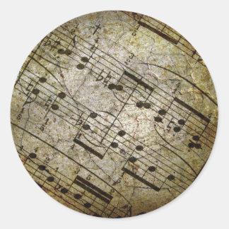 Old sheet musical score, grunge music notes round sticker