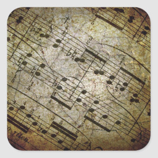 Old sheet musical score, grunge music notes square sticker