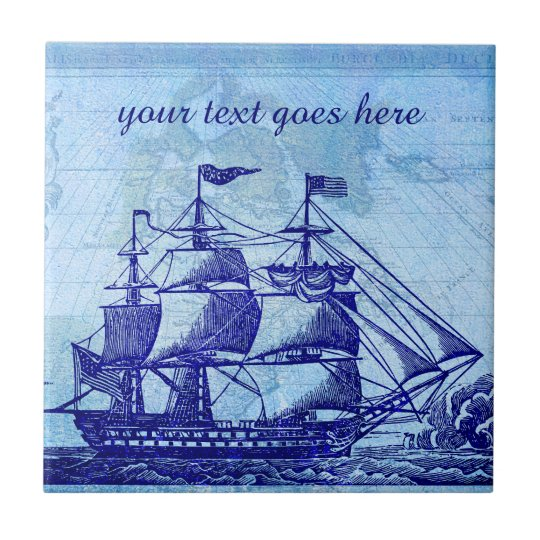 Old Ship and Map Blue Beach House Tile