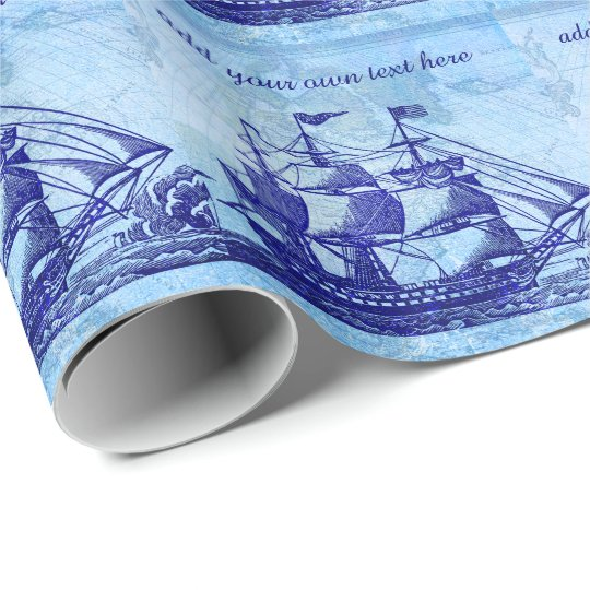 Old Ship and Map Blue Beach House Wrapping