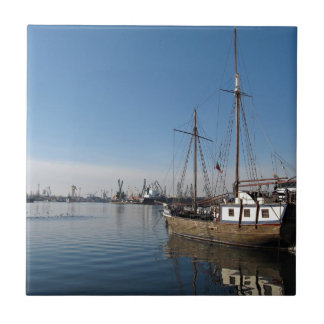 Old Ship in Calm Water Harbor Tiles