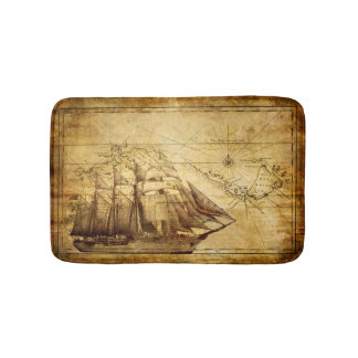 Old Ship Map Bath Mats