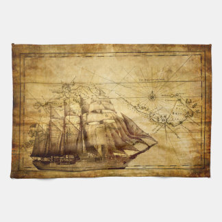 Old Ship Map Kitchen Towel