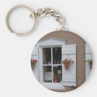 Old Shutter Windows Santa Fe New Mexico Basic Round Button Key Ring