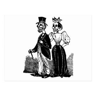 Old Skeleton Couple circa early 1900s, Mexico Postcard