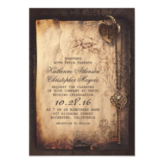 Old Skeleton Key Vintage and Gothic Wedding Card