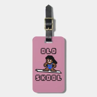 Old Skool Surfing (pale female, Blk) Bag Tag